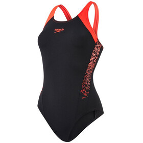 speedo Boom Splice Muscleback Swimsuit Women, black/lava red